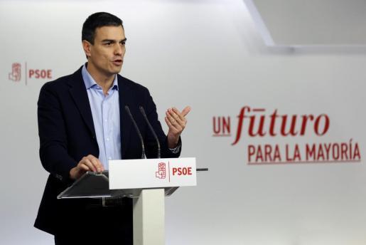 El líder del PSOE, Pedro Sánchez, durante la rueda de prensa posterior a la reunión de la Ejecutiva Federal del partido.