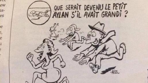 El semanario francés «Charlie Hebdo» sembró esta semana la polémica por una viñeta sobre la muerte del pequeño Aylan Kurdi y la crisis de los refugiados.