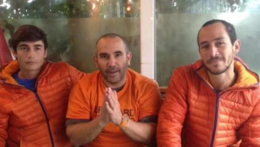 Imagen de video, facilitado por PREOEM-AID, de Enrique González, Julio Latorre y Manuel Blanco.
