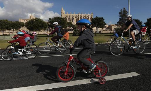 Algunos de los participantes, a su paso por delante de la Catedral de Mallorca.