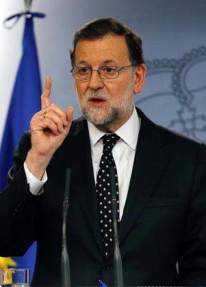 El presidente del Gobierno español en funciones, Mariano Rajoy, durante la rueda de prensa que ha ofrecido en La Moncloa tras la reunión que ha mantenido con el Rey Felipe VI.