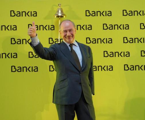 Rodrigo Rato, exministro del Partido Popular, el día que salieron a Bolsa las acciones de Bankia.
