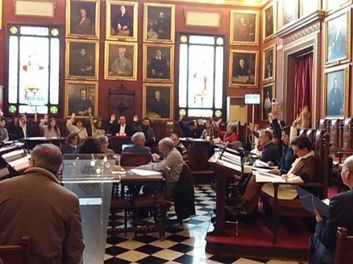 Momento de la votación en el salón de plenos del Ajuntament de Palma.