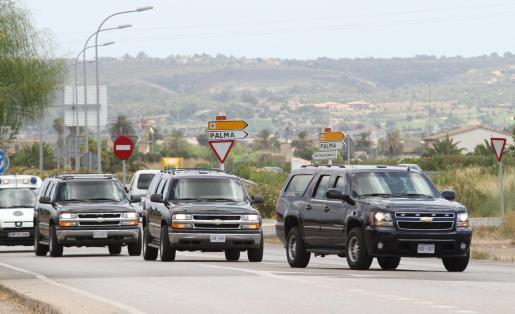 Los coches blindados que utilizará la Primera Dama de EEUU han llegado a Palma.