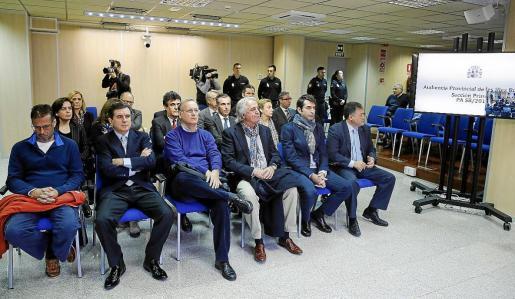 El banquillo de los acusados en el juicio del 'caso Nóos', que se reanuda este martes.