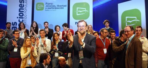El presidente del Gobierno en funciones y líder del PP, Mariano Rajoy, ha intervenido en el I Foro de Jóvenes, Libertad y Participación, organizado en Bilbao por Nuevas Generaciones del País Vasco.