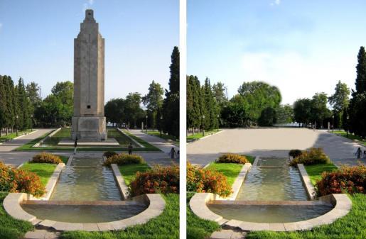 Imagen del actual del parque con el monumento al crucero 'Baleares'junto a una recreación de la opción que más gusta, que donde está el memorial solo hay espacio libre.