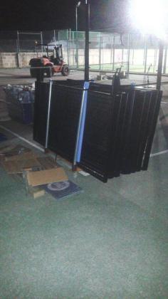 Imagen de las obras para la instalación de la psita de padbol.