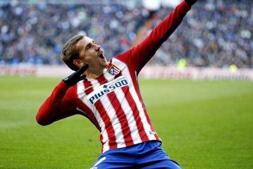 Antoine Griezmann celebra el gol de la victoria en el Santiago Bernabéu.