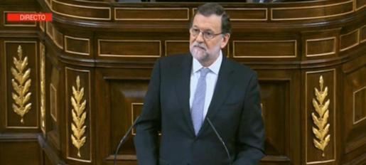 Mariano Rajoy, durante su intervención en la segunda jornada del debate de investidura.