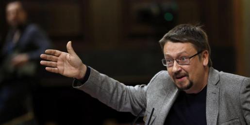 Xavier Domènech, en un momento de su discurso en el debate de investidura.