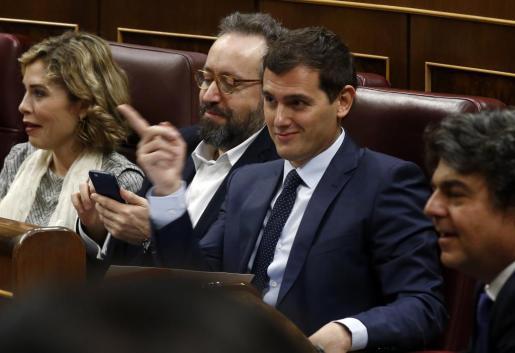 El líder de ciudadanos durante la sesión de investidura de Pedro Sánchez.