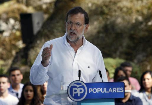 El presidente del Gobierno y del Partido Popular, Mariano Rajoy, durante su intervención en un acto del partido.