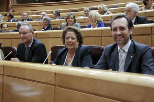 Los senadores del PP: el expresidente de la Comunitat Valenciana, Alberto Fabra (i); la exalcaldesa de València, Rita Barberá (c), y el expresidente balear, José Ramón Bauzá (d).