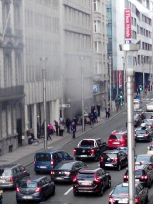 Imagen de la estación de Maalbeek (Bruselas) tras la explosión.