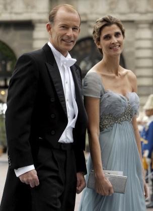 Rosario Nadal y Kyril de Bulgaria, en la boda de la princesa Victoria de Suecia.