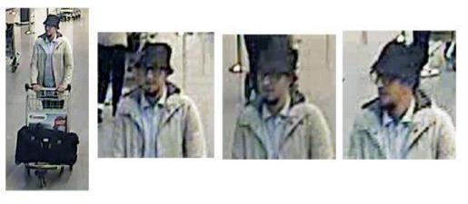 Fotografía cedida por la Policía federal Belga de una captura de un video de circuito cerrado de uno de los tres sospechosos, que está siendo buscado.