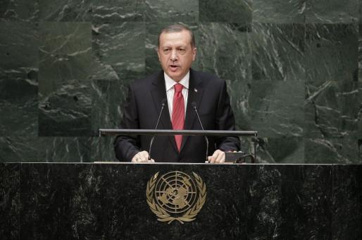 El presidente turco, Recep Tayyip Erdogan, habla durante el debate general de la 69 Asamblea General de la ONU.