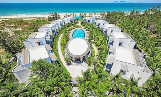Vista panorámica del hotel Meliá Danang, en primera línea de la espectacular playa Non Nuoc de Vietnam.