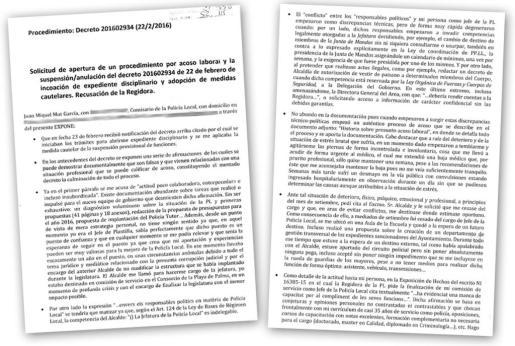 Escrito de denuncia presentado por el comisario Joan Miquel Mut contra la cúpula política de Cort.