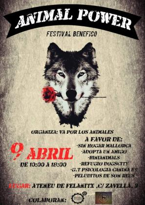 Cartel anunciador del evento Animal Power en Felanitx.