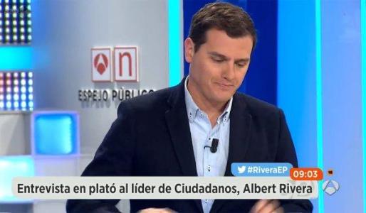 Albert Rivera, durante la entrevista de Antena 3.