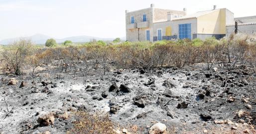 Imagen de ayer de una de las zonas afectadas por el incendio, que consumió alrededor de 140 hectáreas de matorrales.