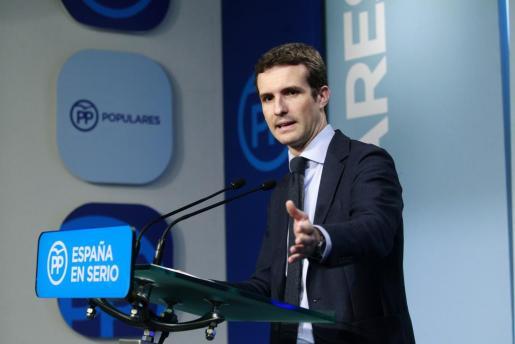 El vicesecretario de Comunicación del PP, Pablo Casado, durante la rueda de prensa que ha ofrecido tras la reunión del Comité de Dirección del partido, en la sede de la calle Génova de Madrid.