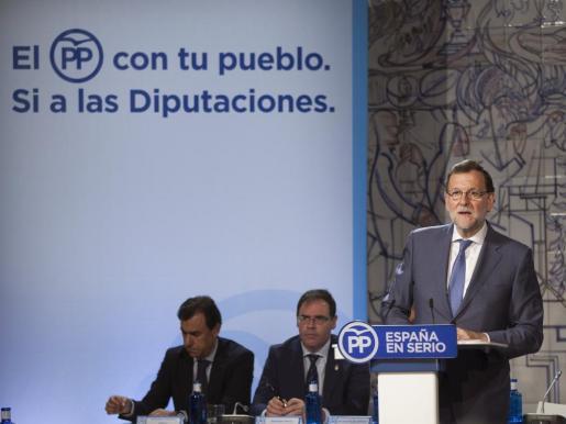 El presidente de Gobierno en funciones, Mariano Rajoy, durante su intervención este jueves en la clausurara de un acto en Cuenca para reivindicar el papel de las diputaciones provinciales.