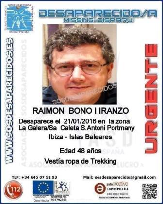 Cartel difundido para la búsqueda de Raimon Bono.