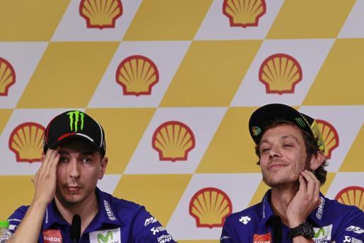 Imagen de archivo de Jorge Lorenzo y Valentino Rossi, durante una rueda de prensa.
