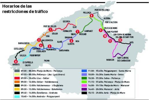 Gráfico de los horarios de las restricciones de tráfico por la prueba Mallorca 312.