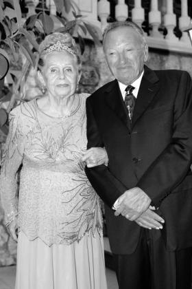Gerardo Cañellas y su mujer, Margarita Engel, celebrando sus bodas de platino.