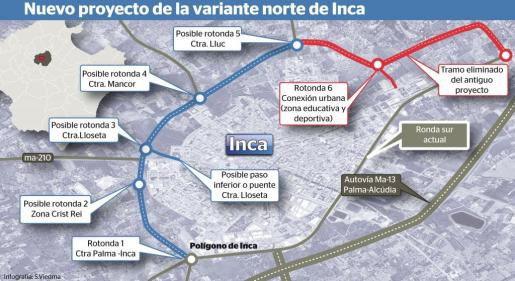 Gráfico del proyecto de la ronda norte de Inca, que ha sido rechazado.