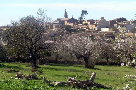Vista del pueblo de Llubí en su entorno natural.