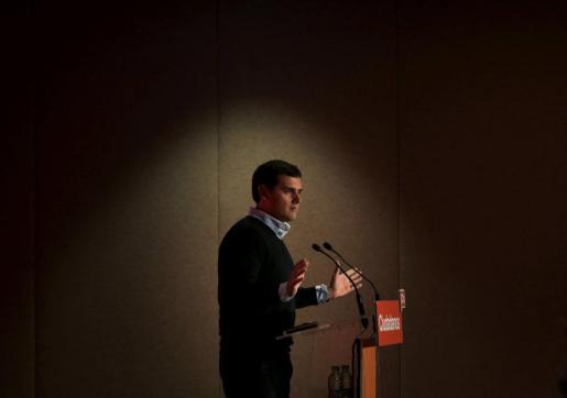 El presidente de Ciudadanos, Albert Rivera, durante su intervención en el Consejo General del partido.