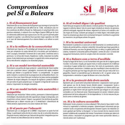 Compromisos que propone el PSIB-PSOE al resto de partidos.