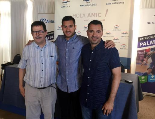 El presidente del Palma Futsal, Miquel Jaume, Bruno Taffy y el director deportivo del club, José Tirado.