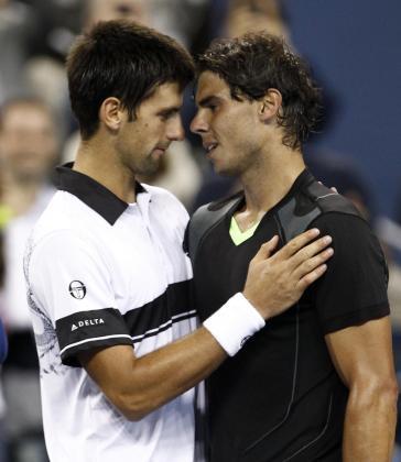 Nadal y Djokovic, tras el partido.
