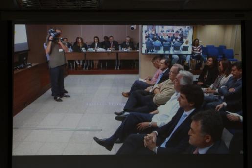 José Luis Ballester, Gonzalo Bernal, Juan Carlos Alía, Miguel Tejeiro, Jaume Matas y Miguel Ángel Bonet, este viernes en el juicio.