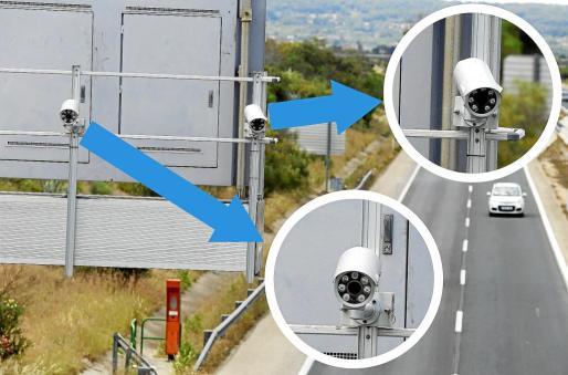 Las dos cámaras instaladas tras un panel en el kilometro 16,1 de la autopista de Inca (la Ma-13).