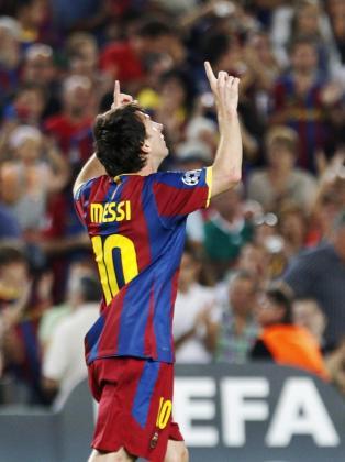 Messi celebra el gol marcado ante el Panathinaikos.