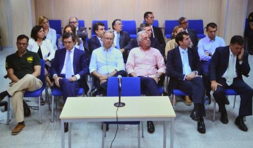 Imagen tomada de la sala de prensa de la Escuela Balear de la Administración Pública (EBAP) de Palma, de la última sesión del juicio del caso Nóos.