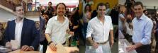 Mariano Rajoy, Pablo Iglesias, Albert Rivera y Pedro Sánchez, votando el 26J.