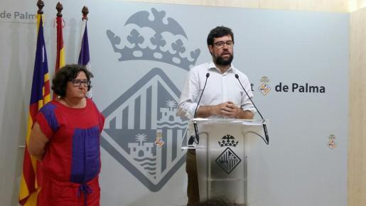 El regidor de Cort Antoni Noguera durante la rueda de prensa que ha ofrecido este martes en Palma.