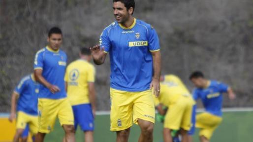 Juan Culio, en un entrenamiento con su anterior equipo, la Unión Deportiva Las Palmas