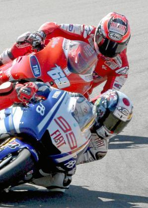 """TER58. ALCAÑIZ (TERUEL), 19/09/2010.- El español Jorge Lorenzo (Yamaha YZR M 1) durante el Gran Premio de Aragón de MotoGP disputado en el circuito """"Motorland Aragón"""" de Alcañiz. Lorenzo ha logrado la cuarta posición. EFE/Xavier Bertral ESPAÑA-MOTOCICLISMO -G.P."""