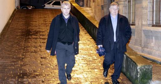 Josep Melià y Joan Monjo poco antes de que el juez impusiera a UM una fianza de 1,6 millones.
