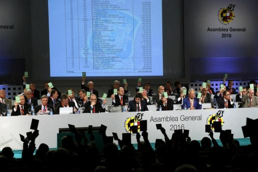 Miembros de la Asamblea General de la Real Federación Española de Fútbol (RFEF), durante la votación hoy en la que se han aprobado los presupuestos para el ejercicio de 2016.