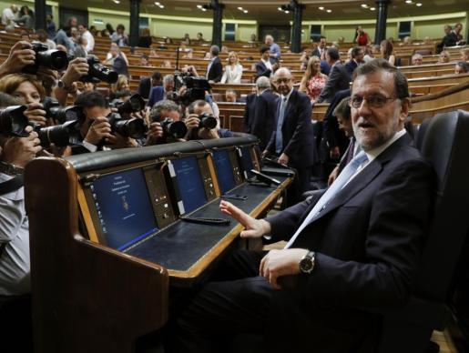 El presidente del Gobierno en funciones, Mariano Rajoy, al inicio de la sesión constitutiva de las Cortes Generales de la XII Legislatura.